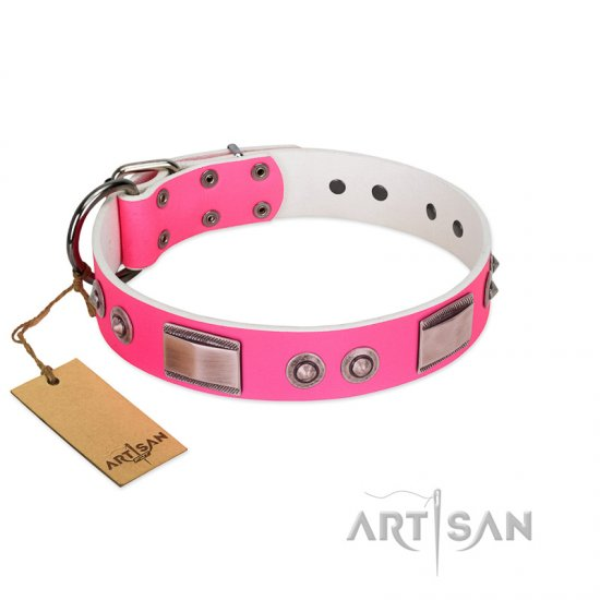 """Lady's Whim"" FDT Artisan Pink Leather Dogue de Bordeaux Collar with Plates and Spiked Studs"