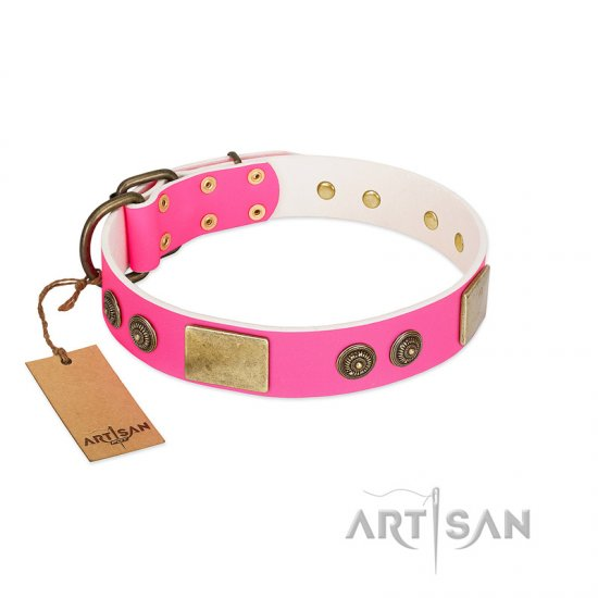 """Queen's Whim"" FDT Artisan Fancy Walking Pink Leather Dogue de Bordeaux Collar Adorned with Old Bronze-like Plates and Studs"