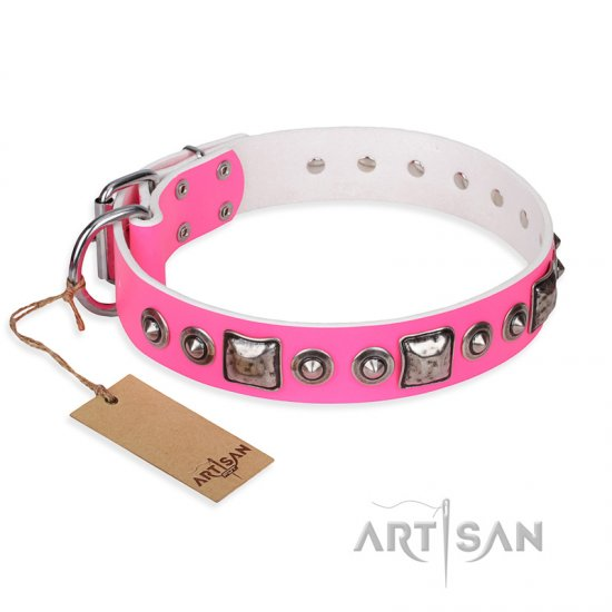 """Pink Dream"" FDT Artisan Leather Dogue de Bordeaux Collar with Silvery Decorations"