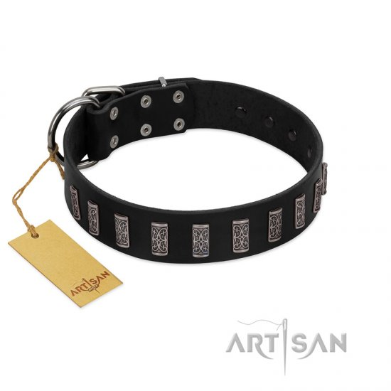 """Black Prince"" Handmade FDT Artisan Black Leather Dogue de Bordeaux Collar with Silver-Like Adornments"
