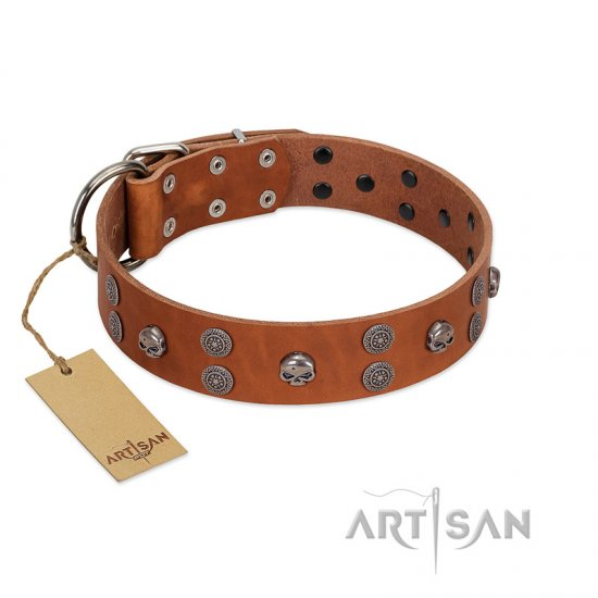 """Road Rider"" FDT Artisan Tan Leather Dogue de Bordeaux Collar with Old Silver-like Skulls and Medallions"