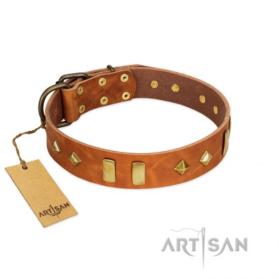 """Woofy Dawn"" FDT Artisan Tan Leather Dogue de Bordeaux Collar with Plates and Rhombs"