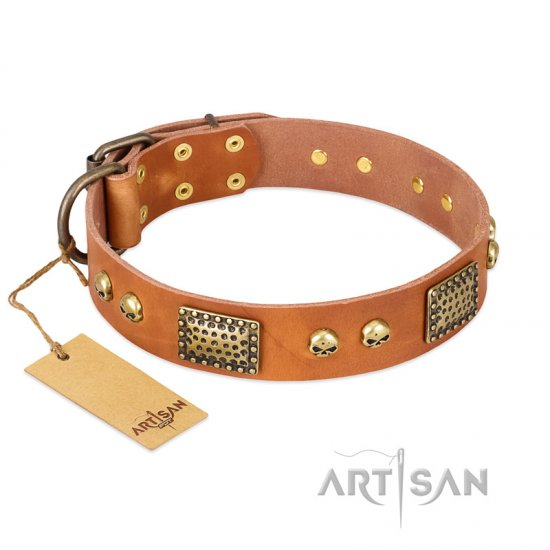 """Saucy Nature"" FDT Artisan Tan Leather Dogue de Bordeaux Collar with Old Bronze Look Plates and Skulls"