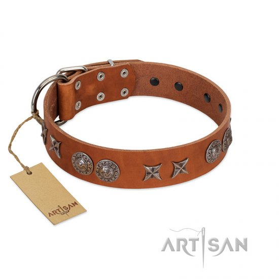 """Splendid Armor"" Premium Quality FDT Artisan Tan Designer Dogue de Bordeaux Collar with Shields and Stars"