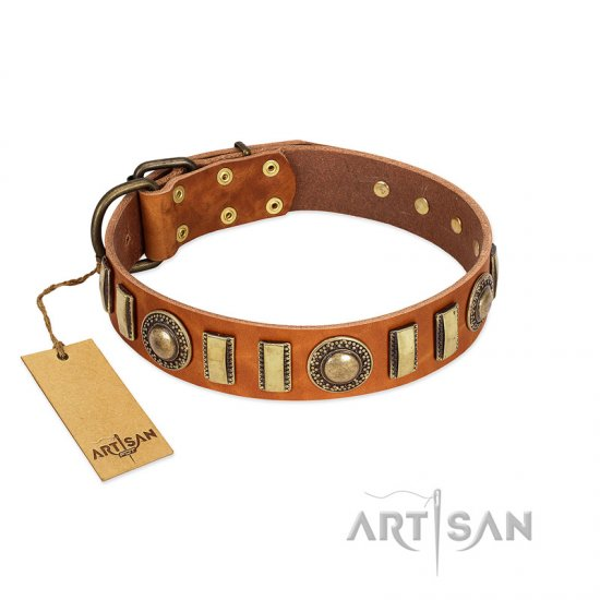 """Happy Hound"" FDT Artisan Tan Leather Dogue de Bordeaux Collar with Elegant Decorations"