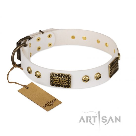 """Lost Treasures"" FDT Artisan White Leather Dogue de Bordeaux Collar with Old Bronze Look Plates and Skulls"