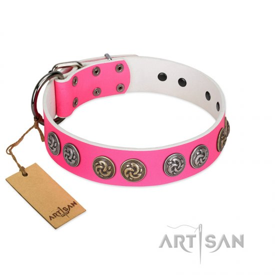 """Pink Butterfly"" Designer FDT Artisan Pink Leather Dogue de Bordeaux Collar with Round Studs"