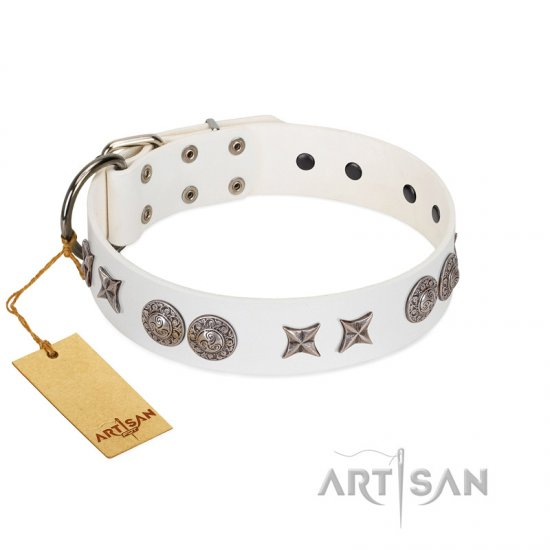 """Seventh Heavens"" FDT Artisan White Leather Dogue de Bordeaux Collar with Chrome-plated Stars and Engraved Brooches"