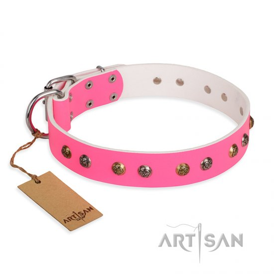 """Sheer love"" Pink Leather FDT Artisan Dogue de Bordeaux Collar with Old-look Hemisphere Studs"