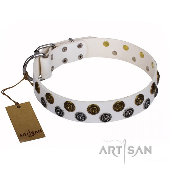"""Snowflake"" FDT Artisan White Leather Dogue De Bordeaux Collar with Two Rows of Circles"