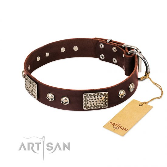 """Pirate Skull"" FDT Artisan Brown Leather Dogue de Bordeaux Collar with Old Silver Look Plates and Skulls"