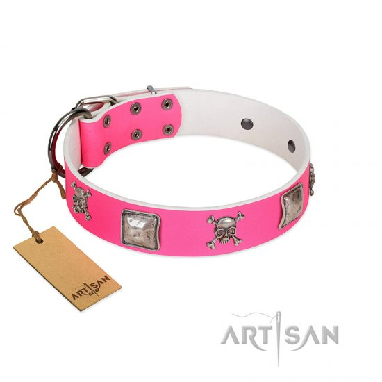 """Rosy Charisma"" Designer Handmade FDT Artisan Pink Leather Dogue de Bordeaux Collar"