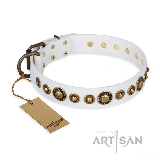 """Swirl of Fashion"" FDT Artisan Delicate White Leather Dogue de Bordeaux Collar with Stunning Bronze-Plated Round Studs"