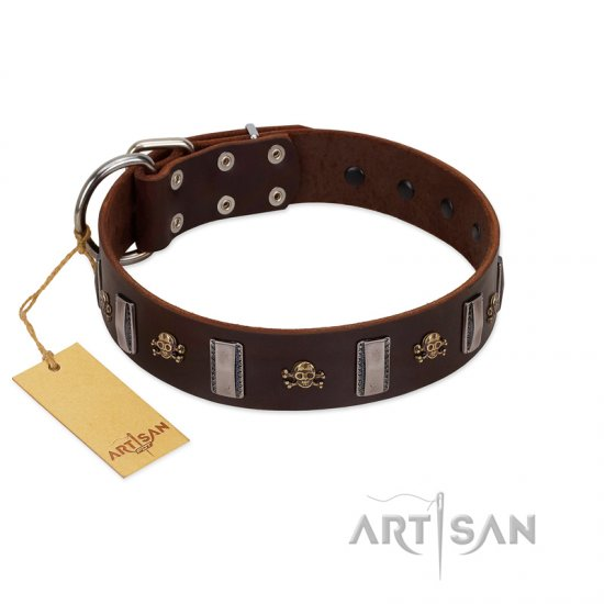 """War Chief"" FDT Artisan Genuine Brown Leather Dogue de Bordeaux Collar with Skulls and Plates"