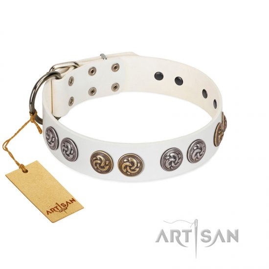 """White Moonlight"" FDT Artisan White Leather Dogue de Bordeaux Collar with Elegant Decorations"