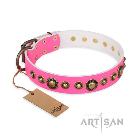 """Pink Gloss"" FDT Artisan Leather Dogue de Bordeaux Collar with Old-Bronze Plated Circles and Studs"