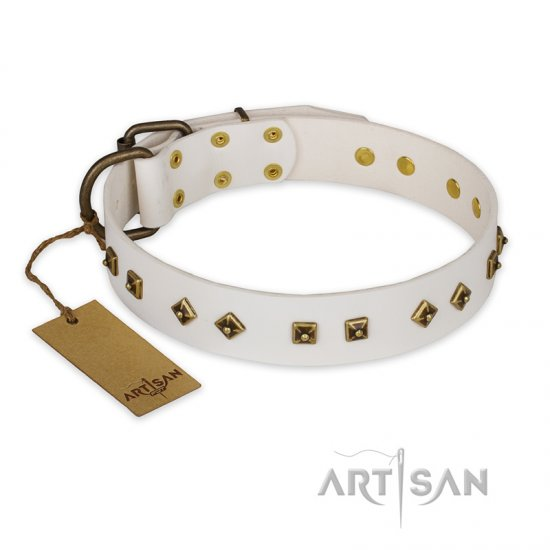 """Snow Cloud"" FDT Artisan White Leather Dogue de Bordeaux Collar with Square and Rhomb Studs"