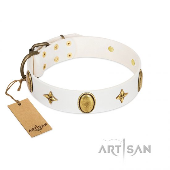 """Hollywood Star"" FDT Artisan White Leather Dogue de Bordeaux Collar with Ovals and Stars - 1 1/2 inch Wide"
