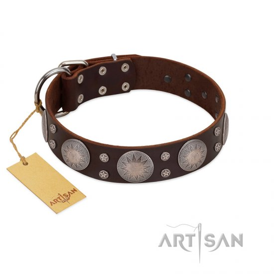 """Imperial Legate"" FDT Artisan Brown Leather Dogue de Bordeaux Collar with Big Round Plates"