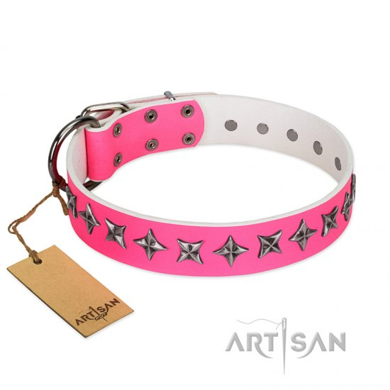 """Star Dreams"" FDT Artisan Pink Leather Dogue de Bordeaux Collar with Silver-like Stars"