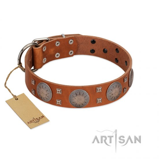 """Sun Rise Noon"" FDT Artisan Tan Leather Dogue de Bordeaux Collar with Unique Design"