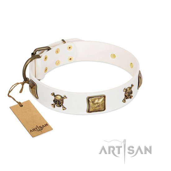 """Glo Up"" FDT Artisan White Leather Dogue de Bordeaux Collar with Skulls and Crossbones Combined with Squares"