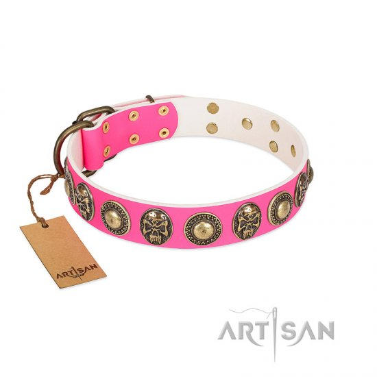 """Two Extremes"" FDT Artisan Pink Leather Dogue de Bordeaux Collar with Elegant Conchos and Medallions with Skulls"