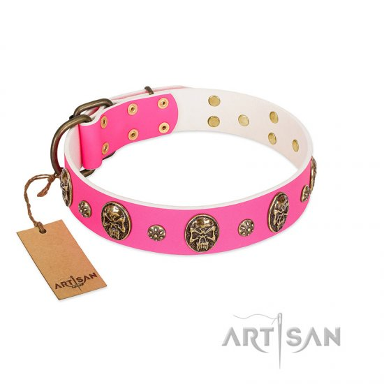 """Fashion Show"" FDT Artisan Pink Leather Dogue de Bordeaux Collar with Old Bronze-like Skulls and Studs"