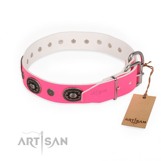 """Flavor of Strawberry"" FDT Artisan Flashy Pink Leather Dogue de Bordeaux Collar - Click Image to Close"