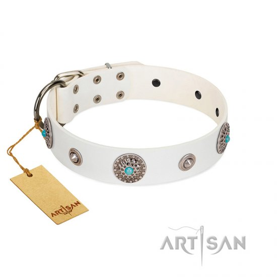 """Lush Life"" Designer Handcrafted FDT Artisan White Leather Dogue de Bordeaux Collar with Blue Stones"