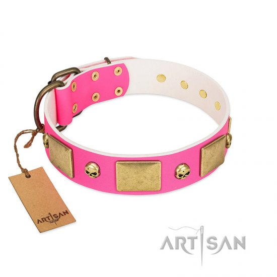 """Glammy Voyage"" FDT Artisan Pink Leather Dogue de Bordeaux Collar with Stylish Bronze-like Decorations"