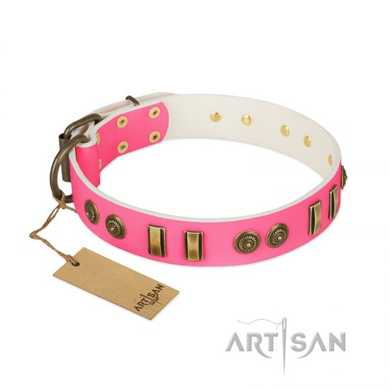 """Pink Amulet"" FDT Artisan Leather Dogue de Bordeaux Collar with Old Bronze-like Plates and Circles"