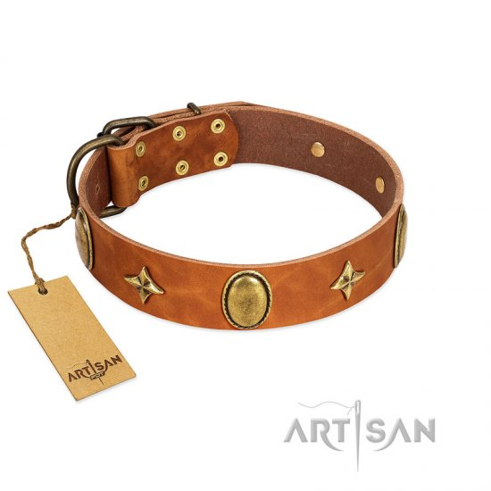 """Space Warrior"" FDT Artisan Tan Leather Dogue de Bordeaux Collar with Ovals and Stars"