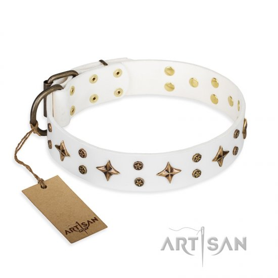 'Bright stars' FDT Artisan White Leather Dogue de Bordaux Collar with Old Bronze Look Decorations - 1 1/2 inch (40 mm) wide