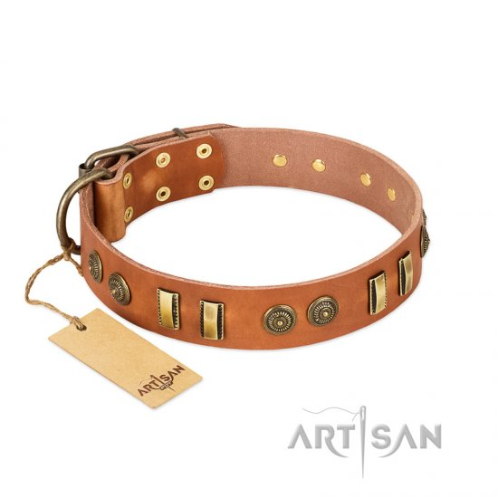 """Natural Beauty"" FDT Artisan Tan Leather Dogue de Bordeaux Collar with Old Bronze-like Circles and Plates"