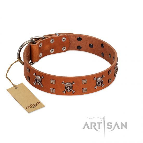 """Rebellious Nature"" FDT Artisan Tan Leather Dogue de Bordeaux Collar Embellished with Crossbones and Square Studs"
