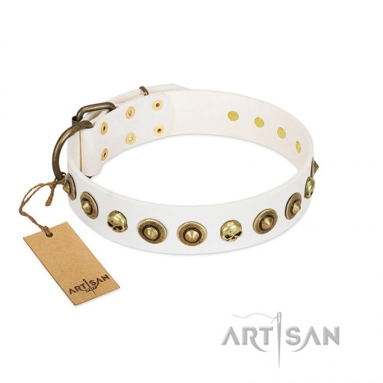 """Wondrous Venture"" FDT Artisan White Leather Dogue de Bordeaux Collar with Skulls and Brooches"