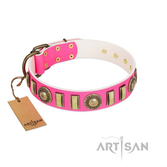 """La Femme"" FDT Artisan Pink Leather Dogue de Bordeaux Collar with Ornate Brooches and Small Plates"