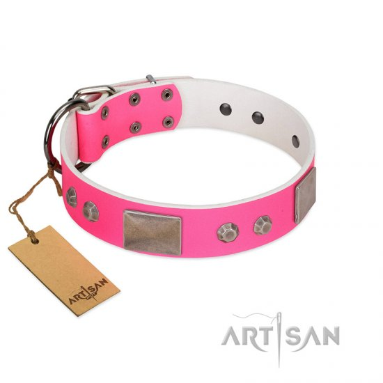 """Pink Blush"" Premium Quality FDT Artisan Pink Designer Dogue de Bordeaux Collar with Plates and Studs"