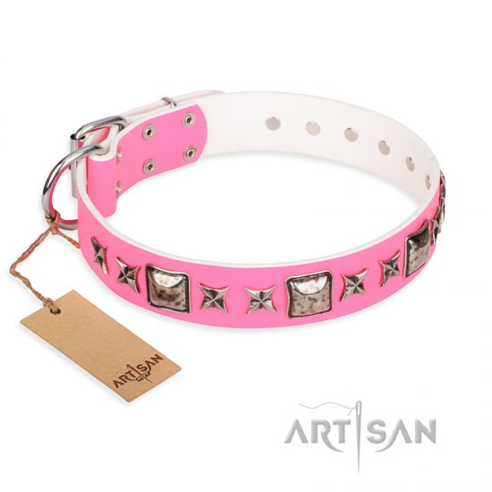 """Lady in Pink"" FDT Artisan Extravagant Leather Dogue de Bordeaux Collar with Studs"