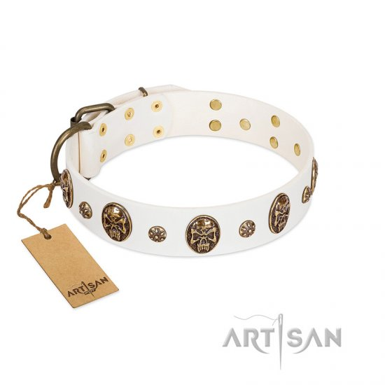 """Magic Bullet"" FDT Artisan White Leather Dogue de Bordeaux Collar with Studs and Skulls"