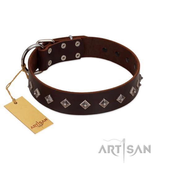 """Boundless Energy"" Premium Quality FDT Artisan Brown Designer Leather Dogue de Bordeaux Collar with Small Pyramids"