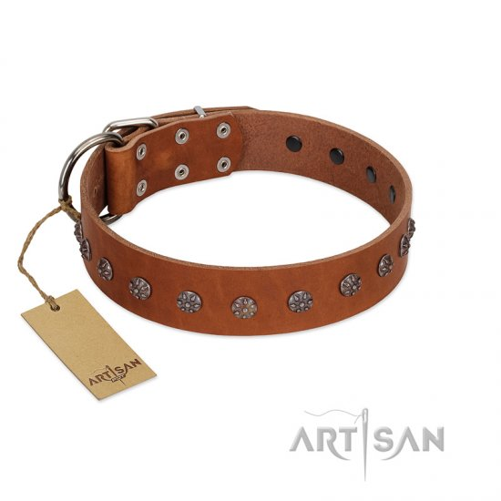 """Daintiness"" Designer Handmade FDT Artisan Tan Leather Dogue de Bordeaux Collar with Silver-Like Adornments"