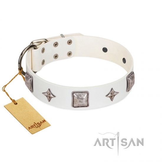 """Vanilla Ice"" FDT Artisan Handmade White Leather Dogue de Bordeaux Collar with Silver-like Adornments"