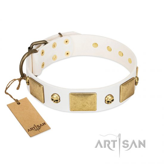 """Inspiration"" FDT Artisan White Leather Dogue de Bordeaux Collar with Antiqued Skulls and Plates"