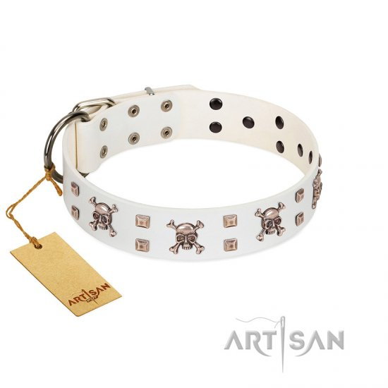 """Skull Island"" Premium Quality FDT Artisan White Designer Dogue de Bordeaux Collar with Crossbones and Studs"