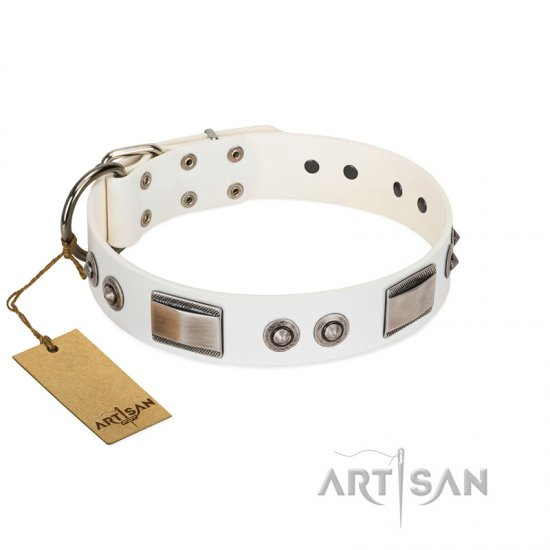 """Good-Luck Piece"" FDT Artisan White Dogue de Bordeaux Collar Adorned with Chrome Plated Studs and Plates"