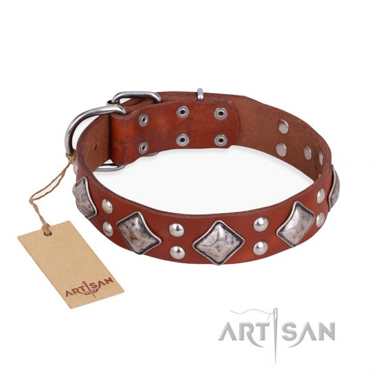"""Magic Squares"" FDT Artisan Tan Leather Dogue de Bordeaux Collar with Silver-like Decor"