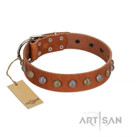 """Dogue-Vogue"" FDT Artisan Tan Leather Dogue de Bordeaux Collar with Engraved Chrome-plated Studs"