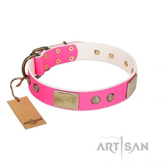 """Flower Parade"" FDT Artisan Pink Leather Dogue de Bordeaux Collar with Plates and Studs"
